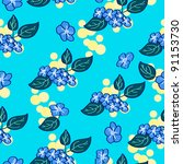 vector floral pattern in blue... | Shutterstock .eps vector #91153730