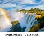 iguazu falls  one of the new... | Shutterstock . vector #91156955