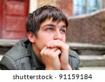 sad young man portrait on the... | Shutterstock . vector #91159184