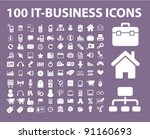 100 it business icons set ...   Shutterstock .eps vector #91160693