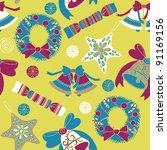 christmas pattern | Shutterstock .eps vector #91169156