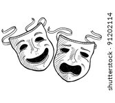doodle style drama or theater... | Shutterstock .eps vector #91202114