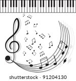 piano keys with notes on a... | Shutterstock .eps vector #91204130