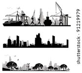 city skyline shiluettes.vector... | Shutterstock .eps vector #91219979
