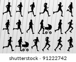 Marathon runners people silhouettes illustration vector collection