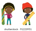 cute cheerful african american... | Shutterstock .eps vector #91223951