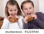 girls eating pancakes | Shutterstock . vector #91225934