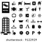 hotel icons set   vector. easy...