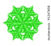 Raster version. Green paper snowflake on a white background - stock photo