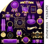 set of gold design elements...   Shutterstock .eps vector #91266392