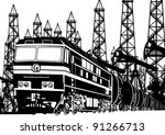 amtrak locomotive with oil on... | Shutterstock .eps vector #91266713