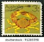 AUSTRALIA - CIRCA 1973: A stamp printed in Australia shows coral crab, series, circa 1973 - stock photo