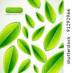 vector leaf texture background | Shutterstock .eps vector #91292966
