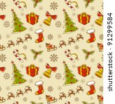 seamless christmas hand drawn... | Shutterstock .eps vector #91299584