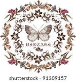 butterflies. flowers. vector.... | Shutterstock .eps vector #91309157