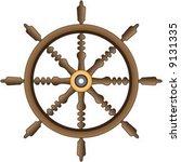 wooden ship's wheel | Shutterstock .eps vector #9131335