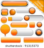 Blank Orange Web Buttons For...