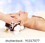 an attractive woman getting spa ... | Shutterstock . vector #91317077