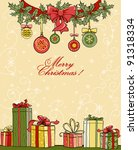 christmas background with gifts | Shutterstock .eps vector #91318334