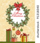 christmas background with... | Shutterstock .eps vector #91318340