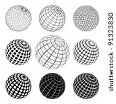 set of black and white globes | Shutterstock .eps vector #91323830