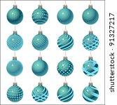 set of christmas balls... | Shutterstock . vector #91327217