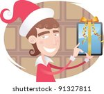 young salesman dressed as santa ... | Shutterstock .eps vector #91327811
