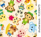 cartoon summer animal seamless... | Shutterstock .eps vector #91330475
