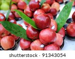 Fresh red apple fruits at Bangkok morning market. - stock photo