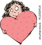girl with big soft cushion in...   Shutterstock .eps vector #91350914