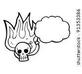 flaming halloween skull with... | Shutterstock .eps vector #91353386
