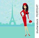 beautiful women shopping in... | Shutterstock .eps vector #91355147