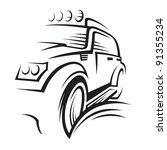 monochrome illustration of a car | Shutterstock .eps vector #91355234