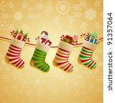 hanging christmas socks with... | Shutterstock .eps vector #91357064