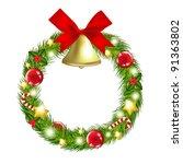 christmas wreath with hand bells | Shutterstock . vector #91363802