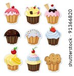 set of delicious cupcakes...   Shutterstock .eps vector #91366820