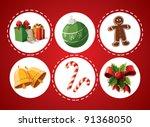set of christmas items | Shutterstock .eps vector #91368050