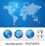dot world maps and globes... | Shutterstock .eps vector #91376591