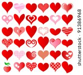 vector hearts set for wedding... | Shutterstock .eps vector #91386968