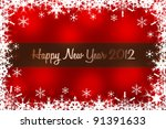 red happy new year 2012 card... | Shutterstock . vector #91391633