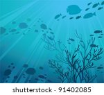 silhouettes of fish and sun... | Shutterstock .eps vector #91402085