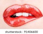 biting her red lips teeth   Shutterstock . vector #91406600
