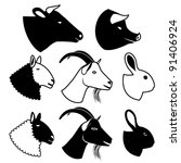 ,animals,black and white,bull,bunny,coney,cony,cow,farm animals,farming,flesh,food,food icon,goat,hare