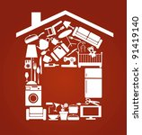 house set with furnitures and... | Shutterstock .eps vector #91419140
