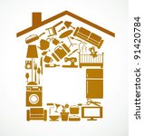 house set with furnitures and... | Shutterstock .eps vector #91420784
