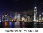 hong kong city night | Shutterstock . vector #91432343