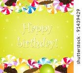 birthday card  vector... | Shutterstock .eps vector #91439429