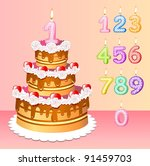 high festive cake birthday with one candle in form of the unit - stock vector