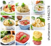 collage with pasta and sauces | Shutterstock . vector #91462178