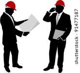 businessmen with hard hat... | Shutterstock .eps vector #91477187